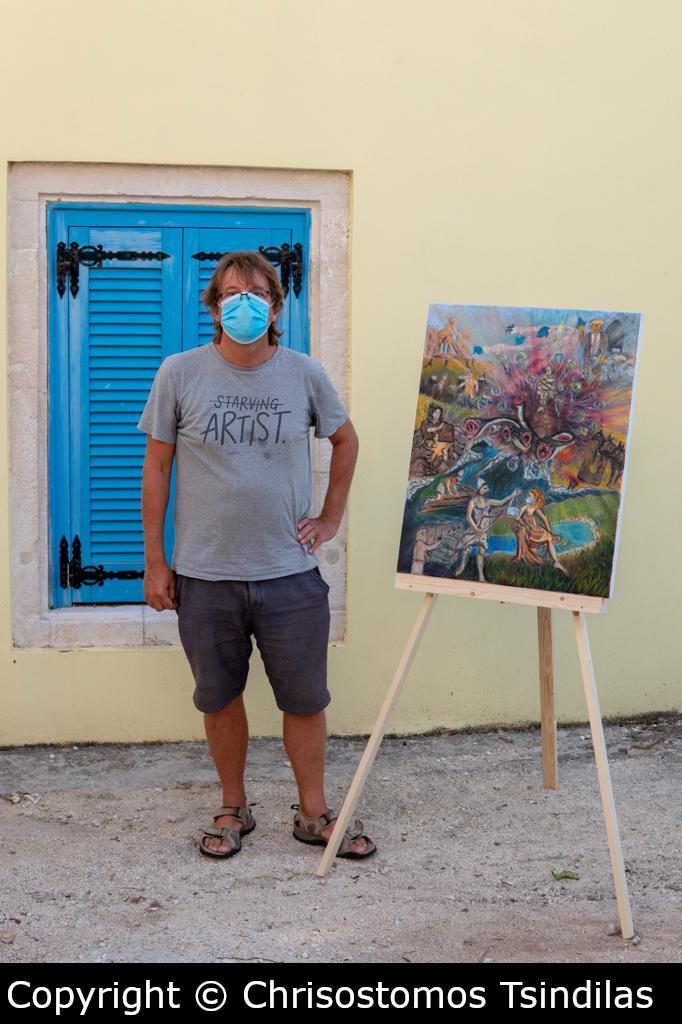 Henry standing next to his painting. Copyright Chrisostomos Tsindilas.