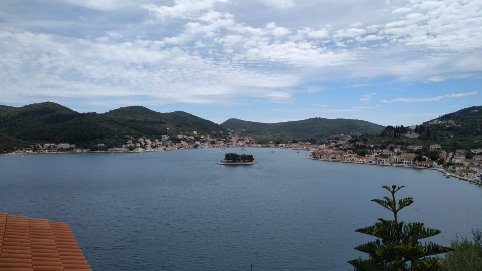 A photo of Vathi harbour from a nearby mountain.